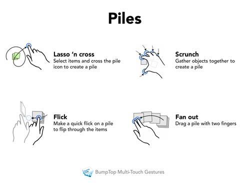 BumpTop Multi-touch Gestures - Piles