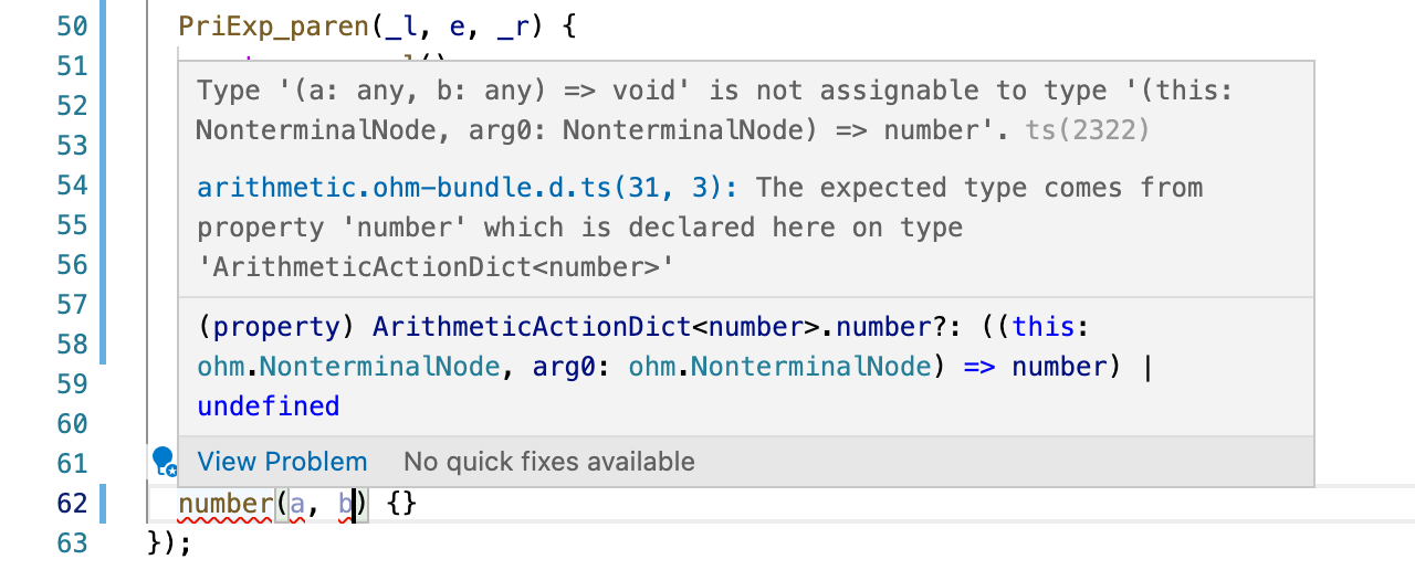 Screenshot from VS Code, showing a type error caused by the number action having too many parameters