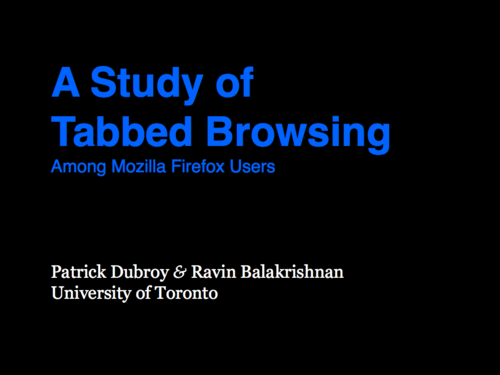 A Study of Tabbed Browsing - Slide 1